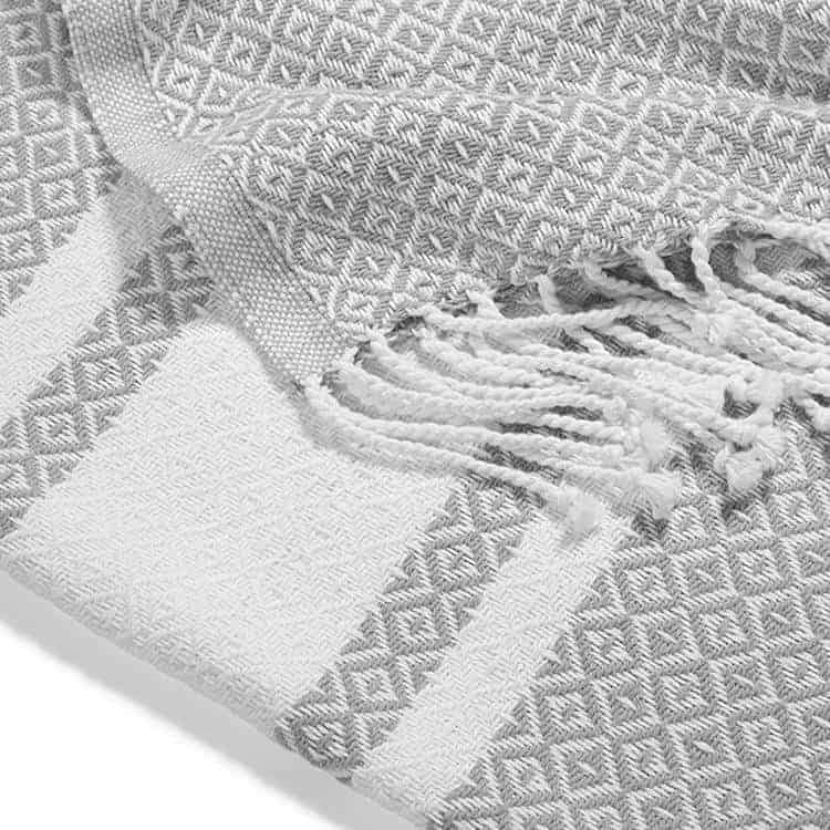 Boll and Branch Adirondack Blanket in Pewter/White - close up
