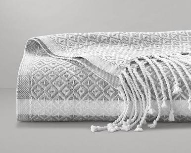 Boll and Branch Adirondack Blanket in Pewter/White