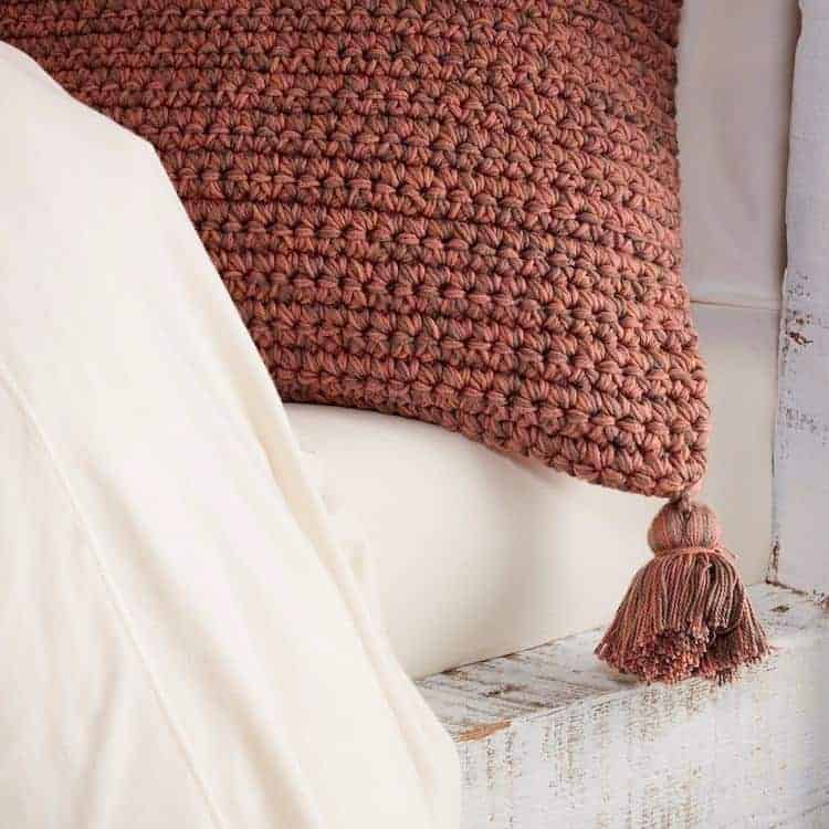 Coyuchi Crocheted Tassel Organic Pillow Cover - Rust