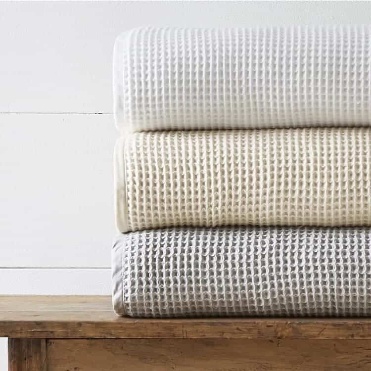 Boll & Branch Waffle Bed Blanket - White - Natural - Pewter