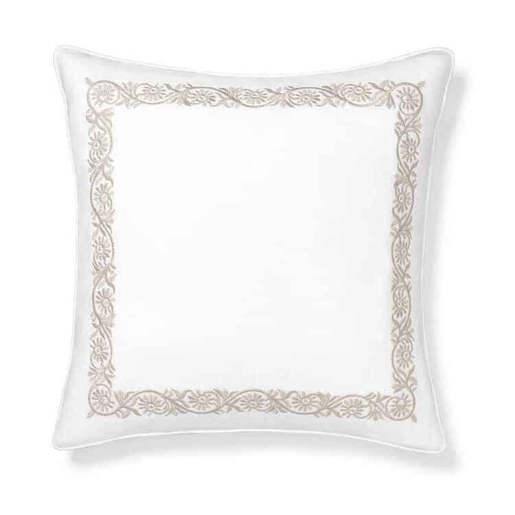 Boll & Branch Embroidered Vine Decorative Pillow Cover - White/Dune Vine