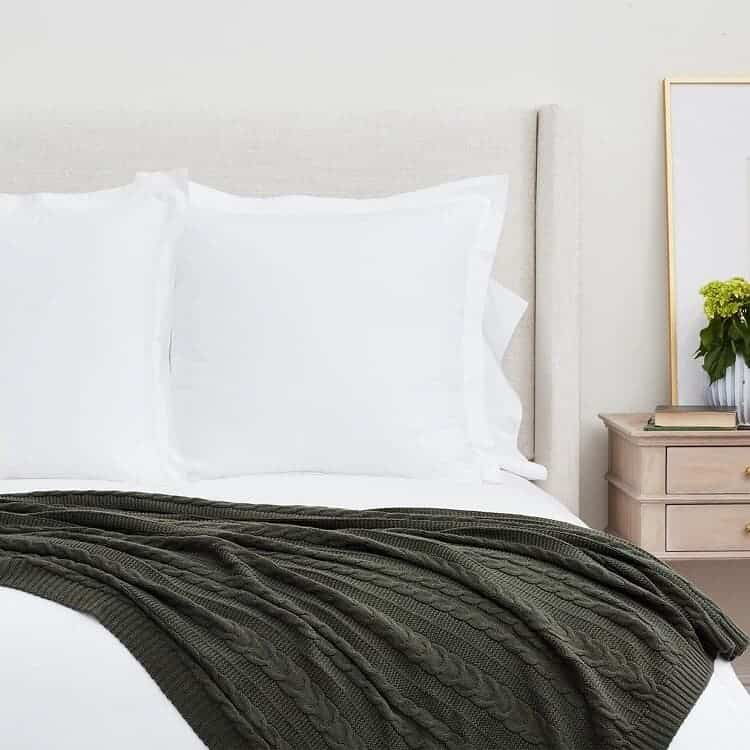 Boll & Block Cable Knit Throw Blanket - Forest Green