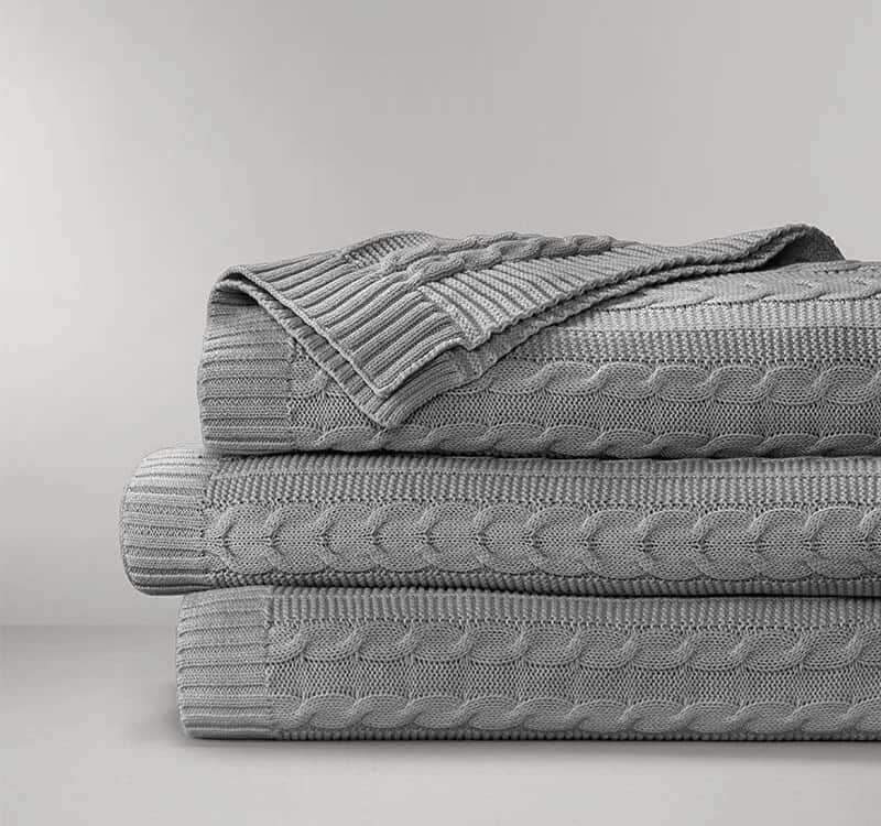 Boll & Block Cable Knit Throw Blanket - Heathered Grey