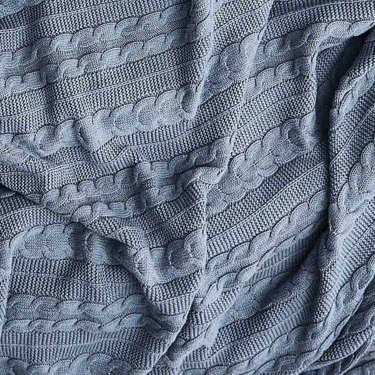 Boll & Block Cable Knit Throw Blanket - Heathered Shore