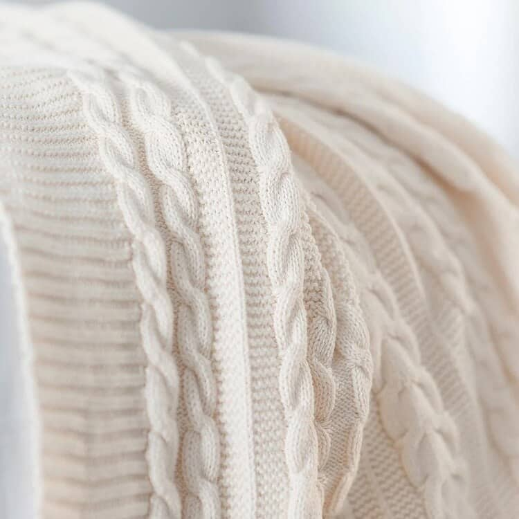 Boll & Block Cable Knit Throw Blanket - Natural
