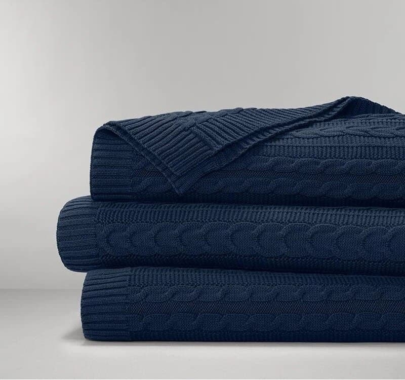 Boll & Block Cable Knit Throw Blanket - Navy