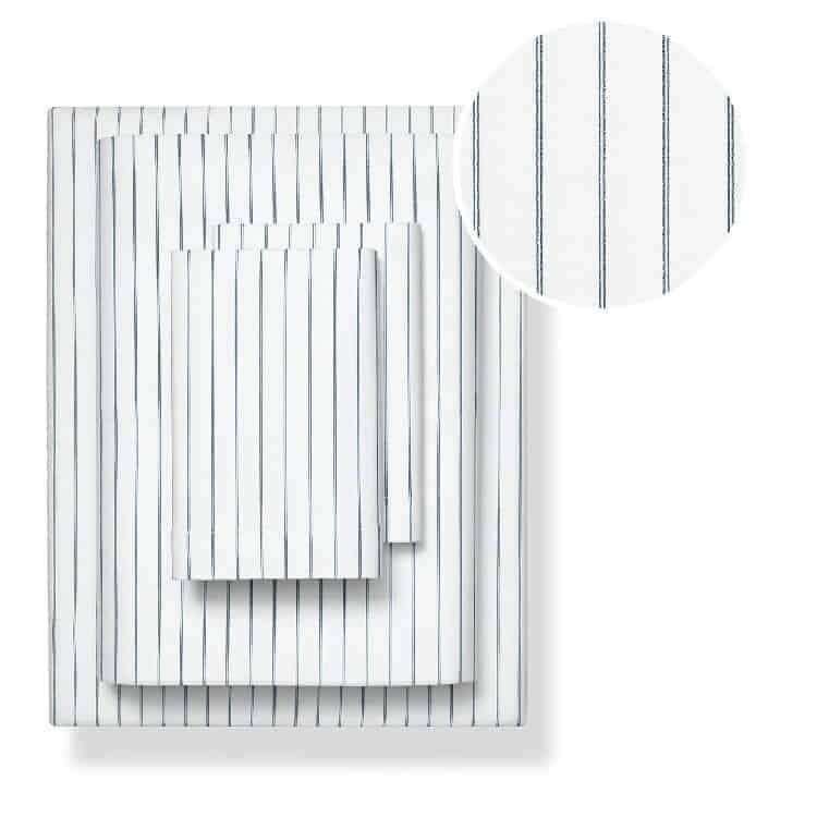 Boll & Branch Percale Simple Stripe Sheet Set - Navy