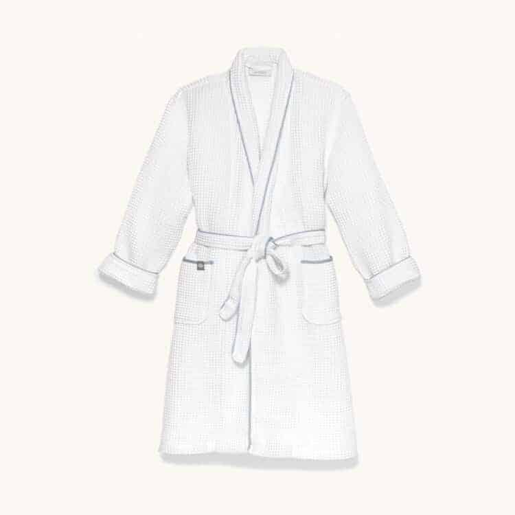 Boll & Branch Women's Waffle Robe - White/Shore